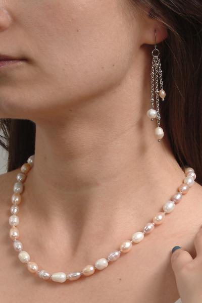 0123(C) Set bijuterii GANELLI Perle naturale de cultura -colier, bratara, cercei 8