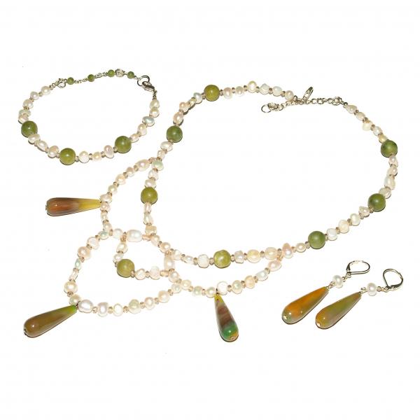 0294 Set bijuterii GANELLI Statement- colier, bratara, cercei din pietre semipretioase Agate braziliene, Jad Serpentin, Perle naturale de cultura 0