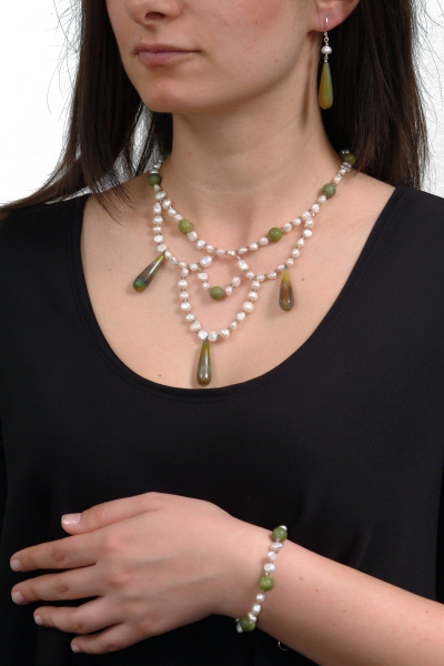 0294 Set bijuterii GANELLI Statement- colier, bratara, cercei din pietre semipretioase Agate braziliene, Jad Serpentin, Perle naturale de cultura 2