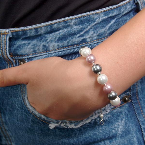 0283-argintiu Set bijuterii GANELLI Perle Mallorca- colier, bratara, cercei (argintiu-lila) 3