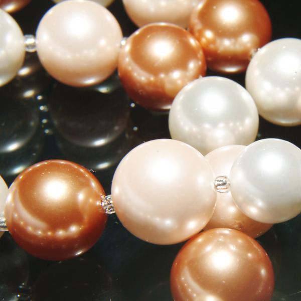 0283-aramiu Set bijuterii GANELLI Perle Mallorca- colier, bratara, cercei (roz-aramiu) 4