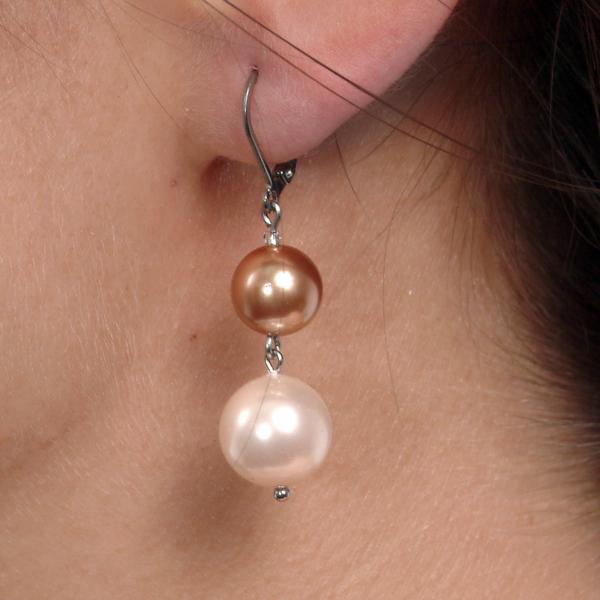 0283-aramiu Set bijuterii GANELLI Perle Mallorca- colier, bratara, cercei (roz-aramiu) 3
