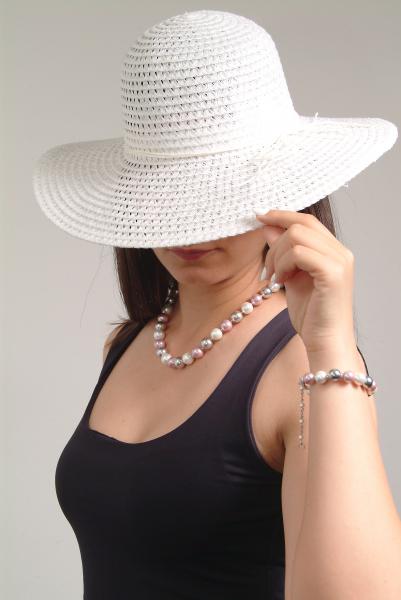 0283-argintiu Set bijuterii GANELLI Perle Mallorca- colier, bratara, cercei (argintiu-lila) 6