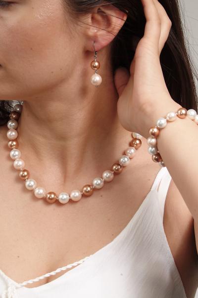 0283-aramiu Set bijuterii GANELLI Perle Mallorca- colier, bratara, cercei (roz-aramiu) 6
