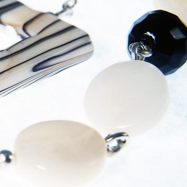 0203(B) Set bijuterii GANELLI pietre semipretioase Onix negru, Onix alb, Sidef - colier lung, bratara 3