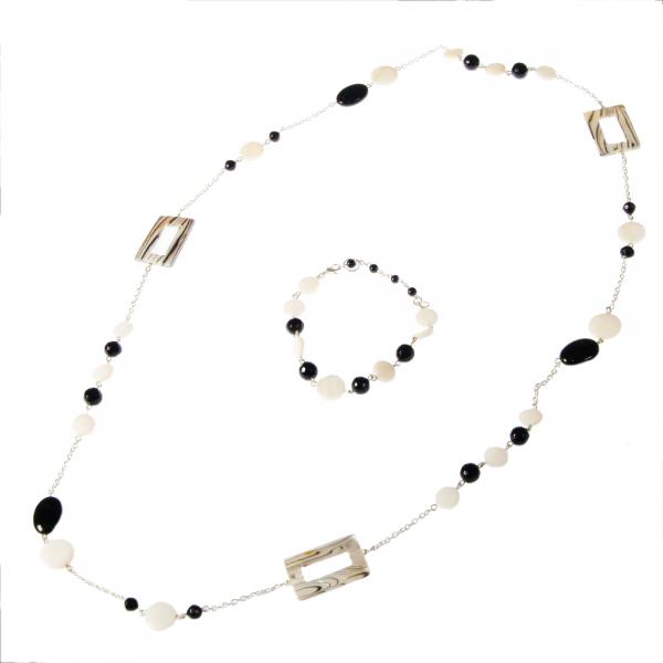 0203(B) Set bijuterii GANELLI pietre semipretioase Onix negru, Onix alb, Sidef - colier lung, bratara 0