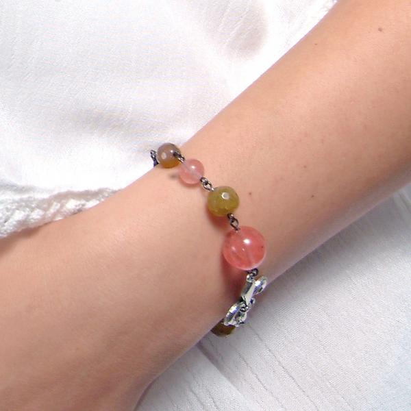 0183(G) Set bijuterii GANELLI- colier lung, bratara, cercei din pietre semipretioase Piatra Dragonului, Cuart cherry 3