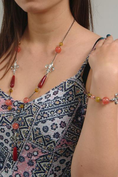 0183(G) Set bijuterii GANELLI- colier lung, bratara, cercei din pietre semipretioase Piatra Dragonului, Cuart cherry 7