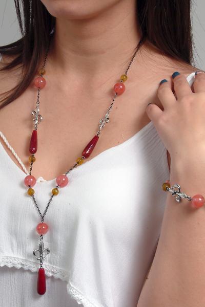 0183(G) Set bijuterii GANELLI- colier lung, bratara, cercei din pietre semipretioase Piatra Dragonului, Cuart cherry 6