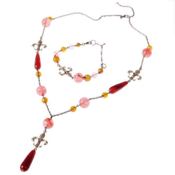 0183(G) Set bijuterii GANELLI- colier lung, bratara, cercei din pietre semipretioase Piatra Dragonului, Cuart cherry 0