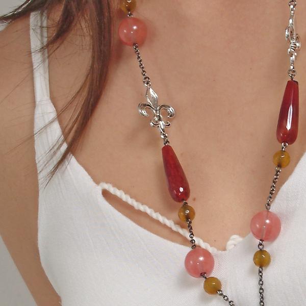 0183(G) Set bijuterii GANELLI- colier lung, bratara, cercei din pietre semipretioase Piatra Dragonului, Cuart cherry 1