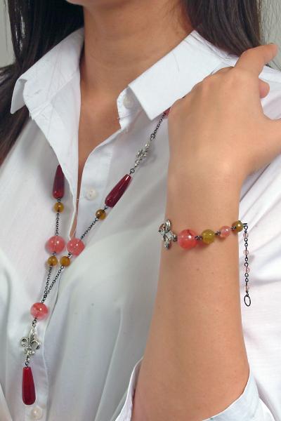 0183(G) Set bijuterii GANELLI- colier lung, bratara, cercei din pietre semipretioase Piatra Dragonului, Cuart cherry 8