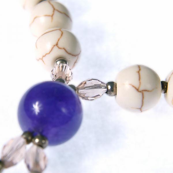 0119 Set bijuterii GANELLI Statement din pietre semipretioase Howlit, Ametist, Cristal - colier si cercei 1