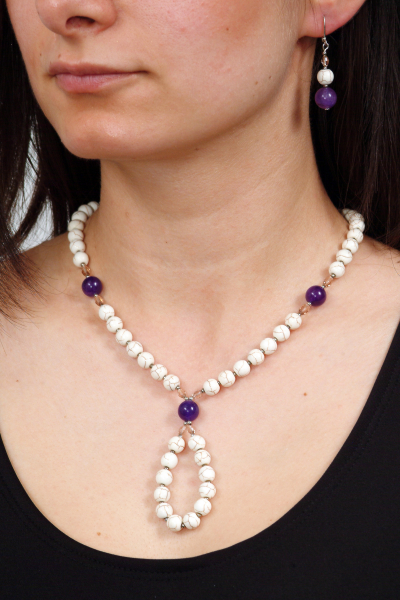 0119 Set bijuterii GANELLI Statement din pietre semipretioase Howlit, Ametist, Cristal - colier si cercei 2