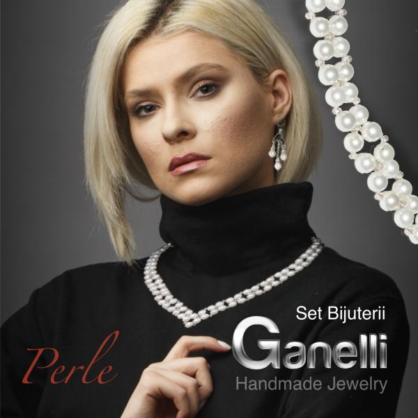 0300(A) Set bijuterii GANELLI Statement handmade - Colier in V si Cercei Chandelier din Perle Mallorca 5