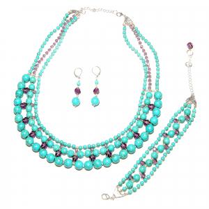 Set bijuterii GANELLI -colier Statement 3 randuri, bratara 3 randuri, cercei, pietre semipretioase Turcoaz, Cristal helix