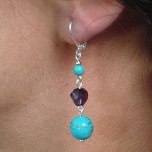 Set bijuterii GANELLI -colier Statement 3 randuri, bratara 3 randuri, cercei, pietre semipretioase Turcoaz, Cristal helix4