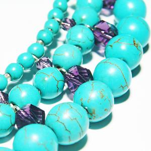 Set bijuterii GANELLI -colier Statement 3 randuri, bratara 3 randuri, cercei, pietre semipretioase Turcoaz, Cristal helix2