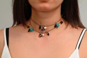 Bratara GANELLI multifunctionala pentru mana, glezna sau colier, din piele naturala si pietre semipretioase Jasp Dalmatian, Agate, Coral alb, Turcoaz3