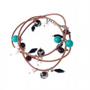 Bratara GANELLI multifunctionala pentru mana, glezna sau colier, din piele naturala si pietre semipretioase Jasp Dalmatian, Agate, Coral alb, Turcoaz