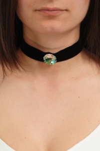 Colier Choker GANELLI cu Cristal central octogon 24 mm Swarovski elements, catifea neagra1