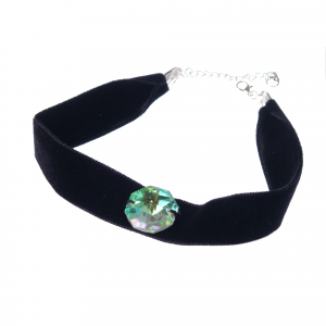Colier Choker GANELLI cu Cristal central octogon 24 mm Swarovski elements, catifea neagra