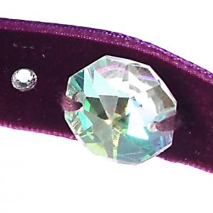Colier Choker GANELLI cu Cristale Swarovski elements -un cristal central octogon si 6 mici rotunde, catifea cu dublura din satin (mov)2