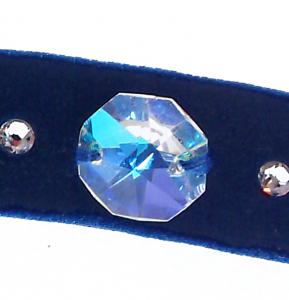 Colier Choker GANELLI cu Cristale Swarovski elements -un cristal central octogon si 6 mici rotunde, catifea cu dublura din satin (albastru)2