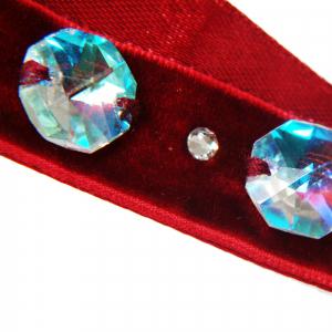 Colier Choker GANELLI cu 3 Cristale octogon mari si 4 rotunde mici Swarovski elements, catifea cu dublura din satin (rosu)2