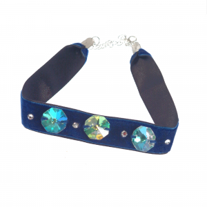 Colier Choker GANELLI cu 3 Cristale octogon mari si 4 rotunde mici Swarovski elements, catifea cu dublura din satin (albastru)0