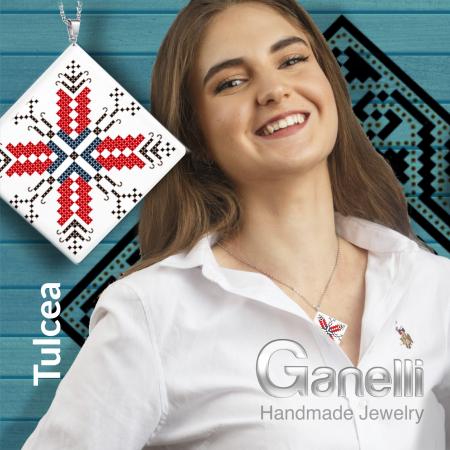 Pandantiv Ganelli din ceramica si argint cu motive romanesti din Dobrogea - Tulcea2