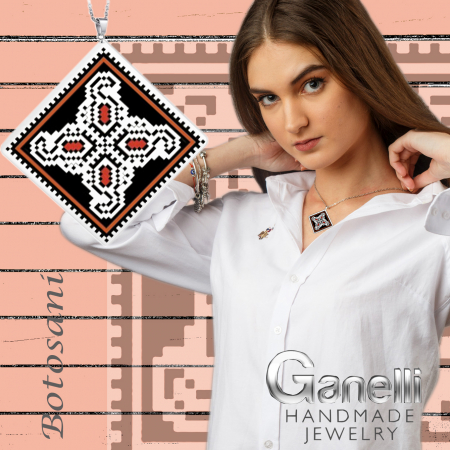 Pandantiv Ganelli din ceramica si argint cu motive romanesti din Moldova - Botoșani2