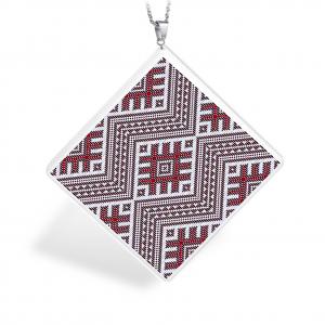 Pandantiv Ganelli din ceramica si argint cu motive romanesti din Transilvania - Sălaj0