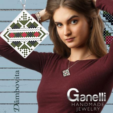 Pandantiv Ganelli din ceramica si argint cu motive romanesti din Muntenia - Dambovita2
