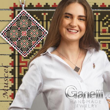 Pandantiv Ganelli din ceramica si argint cu motive romanesti din Muntenia - Muscel (model 1)2