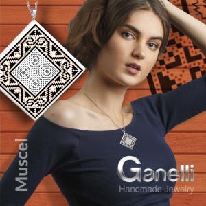 Pandantiv Ganelli din ceramica si argint cu motive romanesti din Muntenia - Muscel (model 2)2