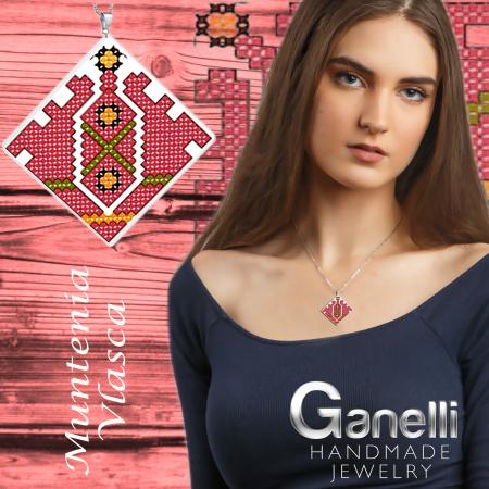 Pandantiv Ganelli din ceramica si argint cu motive romanesti din Muntenia - Vlașca2