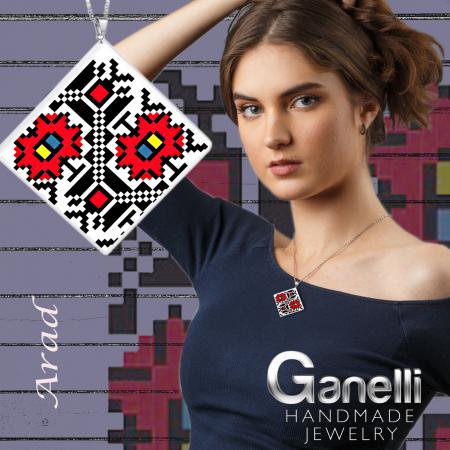 Pandantiv Ganelli din ceramica si argint cu motive romanesti din Transilvania - Arad (model 1)2