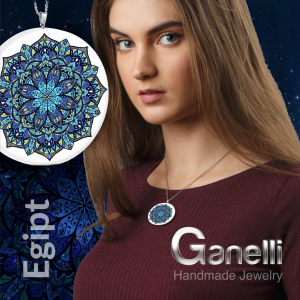 Pandantiv Ganelli Mandale Egipt din ceramica si argint4