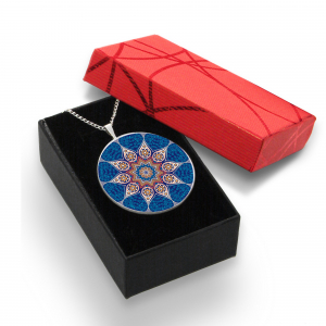 Pandantiv Ganelli Mandale Tibet din ceramica si argint -model 2 (albastru)1