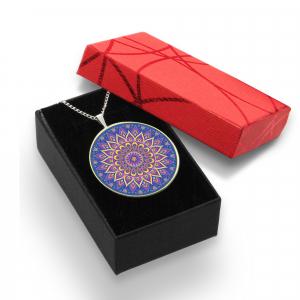 Pandantiv Ganelli Mandale Tibet din ceramica si argint -model 1 (albastru)1