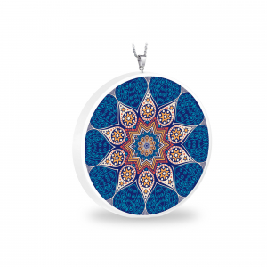 Pandantiv Ganelli Mandale Tibet din ceramica si argint -model 2 (albastru)