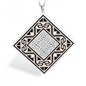 Pandantiv Ganelli din ceramica si argint cu motive romanesti din Muntenia - Muscel (model 2)