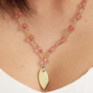 Set bijuterii GANELLI- colier, bratara, cercei din pietre semipretioase Jad Serpentin, Cuart cherry3