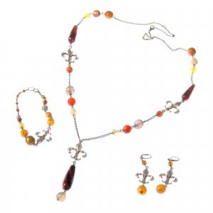 Set bijuterii GANELLI- colier lung, bratara, cercei din pietre semipretioase Agate Piatra Dragonului0