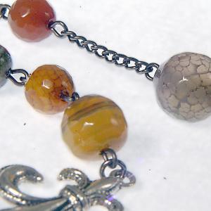 Set bijuterii GANELLI- colier lung, bratara, cercei din pietre semipretioase Agate Piatra Dragonului6