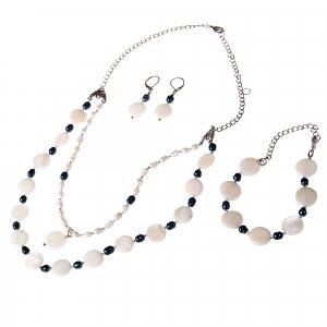 Set bijuterii GANELLI- colier, bratara, cercei din pietre semipretioase Sidef si Perle naturale de cultura0
