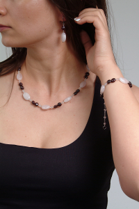 Set bijuterii GANELLI din pietre semipretioase Cuart roz si Granat - colier, bratara, cercei6