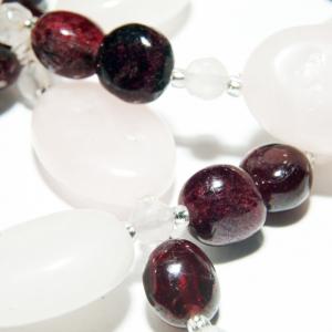 Set bijuterii GANELLI din pietre semipretioase Cuart roz si Granat - colier, bratara, cercei4