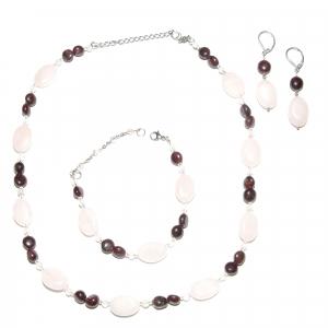 Set bijuterii GANELLI din pietre semipretioase Cuart roz si Granat - colier, bratara, cercei0